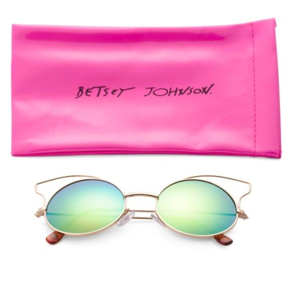 336a8dd6dbe Betsey Johnson Round Mirror Cat Eye Sunglasses